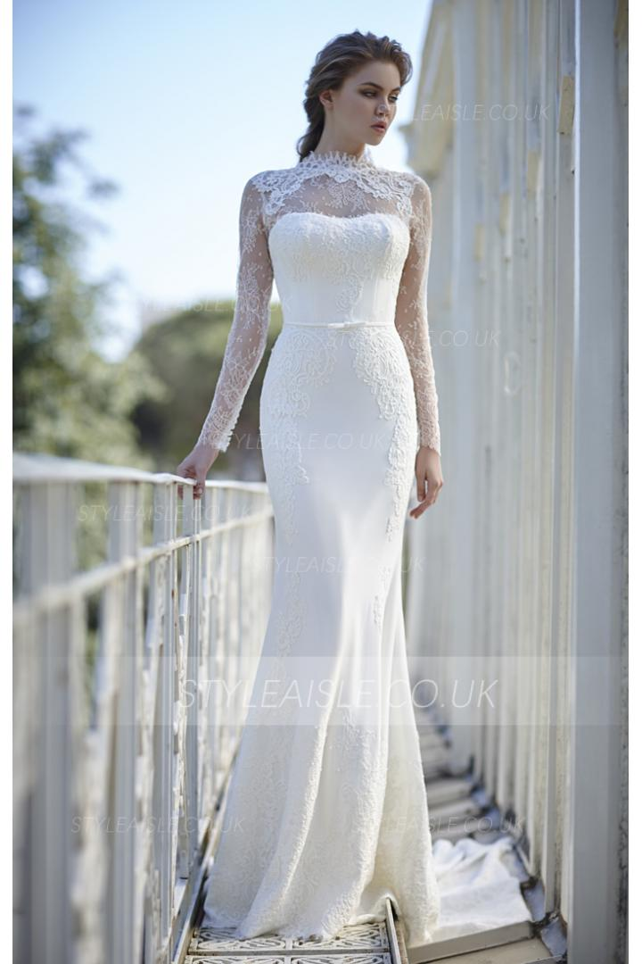 ... Ivory High Neck Long Sleeves Sheath Lace Wedding Dress with Ribbon