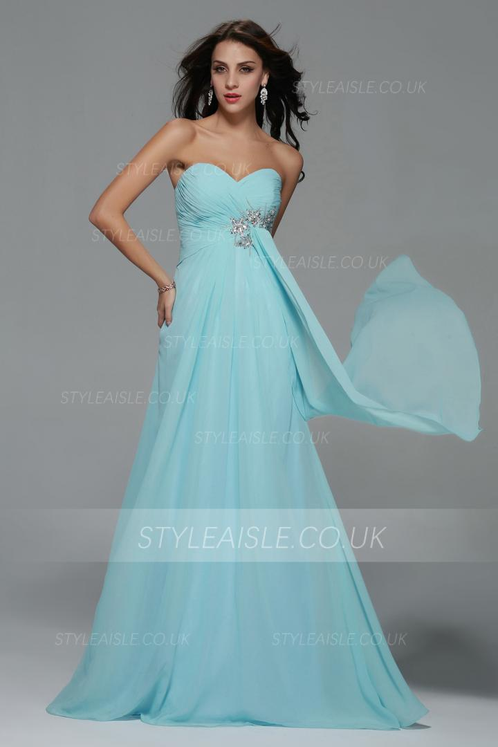 Empire Strapless A-line Long Light Sky Blue Chiffon Prom Dress with Beading