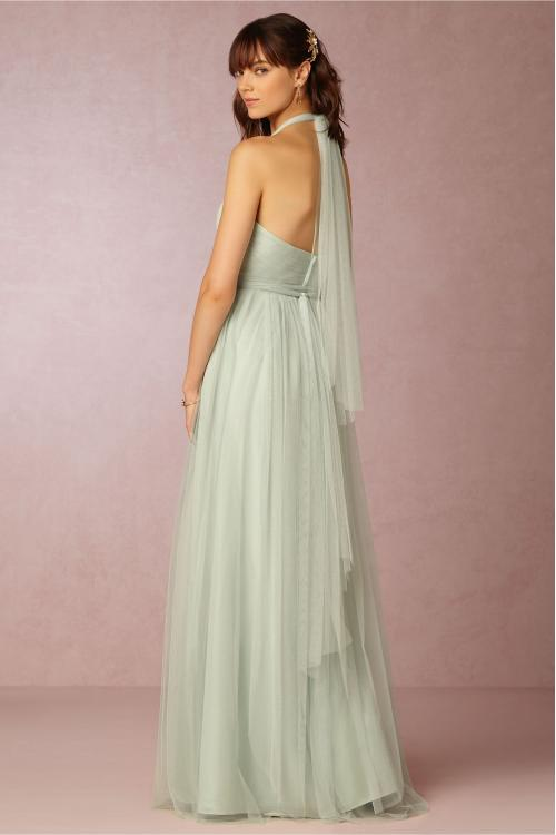 Hot Sale Halter V Neck A-line Long Sage Tulle Bridesmaid Dress