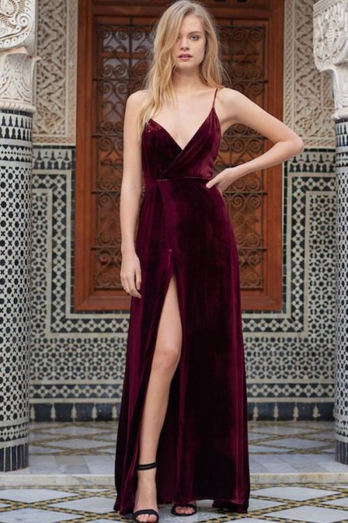 Long Burgundy Spaghetti Straps A-line Prom Dress with Split