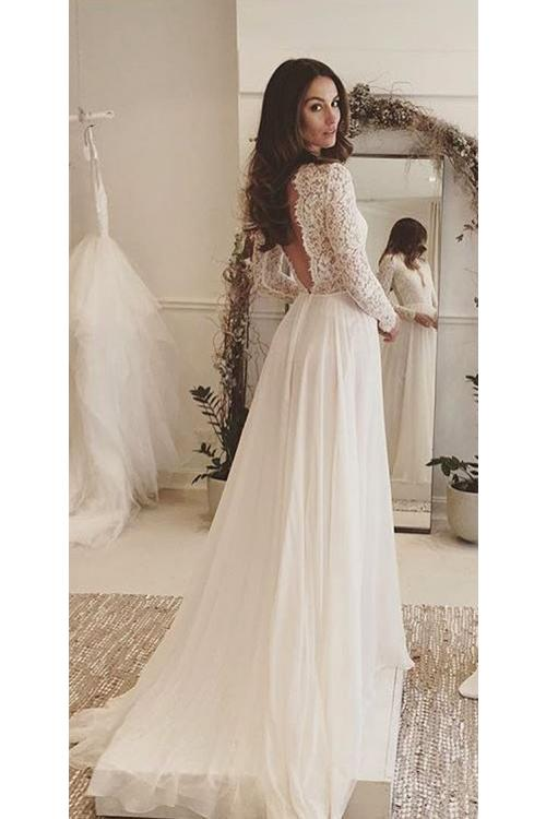 Vintage Inspired V Neck Long Sleeve Chiffon Chic Wedding Dress