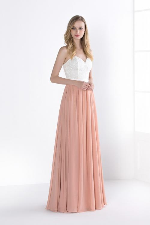 Long Strapless Sweetheart Lace Coral Chiffon Bridesmaid Dress