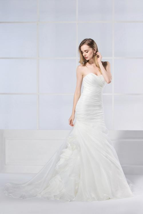 Trumpet/Mermaid Strapless Cascading Ruffles Long Wedding Dresses