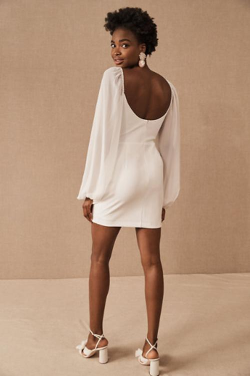 Sheath/Column V-neck Long Sleeve Ruching Short/Mini Short Chiffon Cocktail Dresses