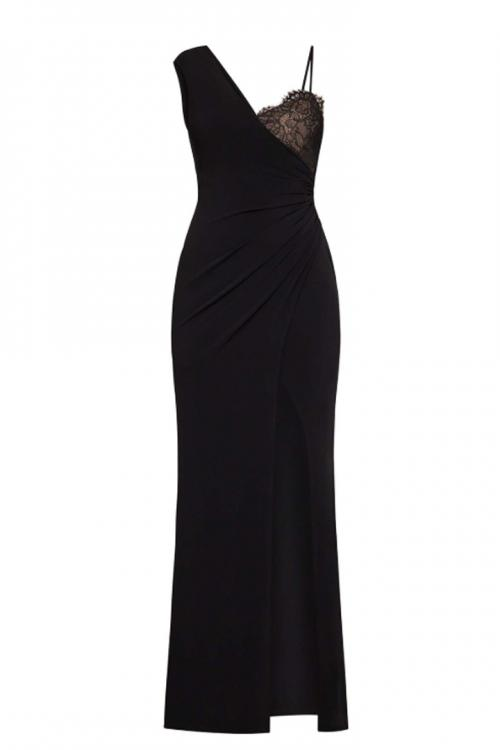 Black Asymmetrical Shoulder Straps Sleeveless Split Floor-length Long Chiffon Prom Dresses with Lace Chest