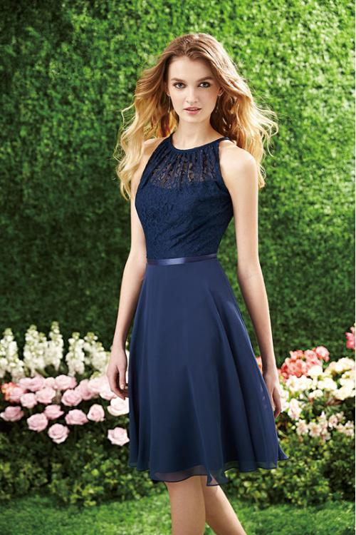 Navy Blue Lace Bodice A-line Knee Length Chiffon Bridesmaid Dress with Ribbon