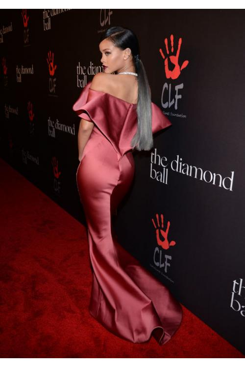 Rihanna Diamond Off Shoulder Mermaid Satin Prom Dress