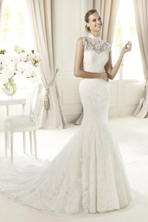 Sexy Trumpet/Mermaid High Neck Lace Sweep/Brush Train Tulle Wedding Dresses