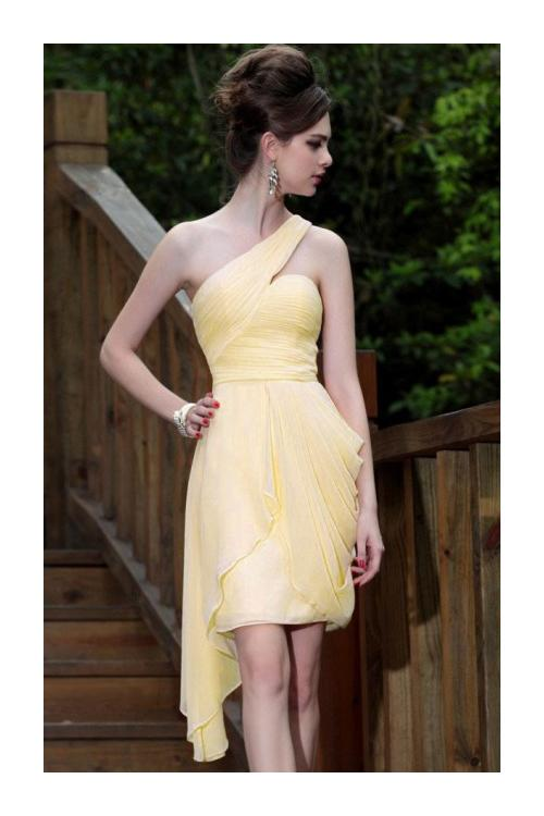 Hot Sale One Shoulder Pleated Chiffon Knee Length Chiffon Prom Dress