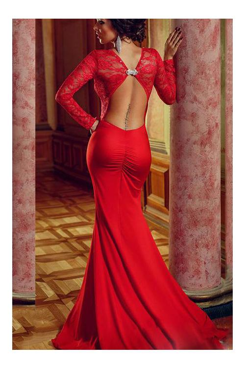 Sexy Red Backless Long Lace and Chiffon Prom Dress