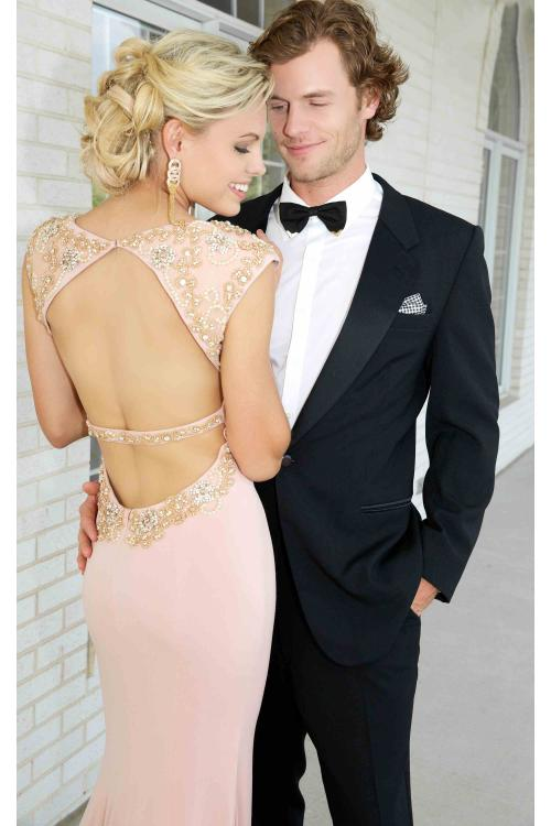 Fashion Bateau Neck Cap Sleeved Sheath Long Jersey Prom Dress with Crystal Embellishments