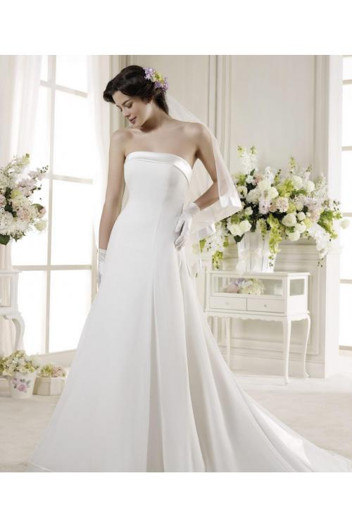 Simple A-line Strapless Beading Bow(s) Sweep/Brush Train Satin Wedding Dresses
