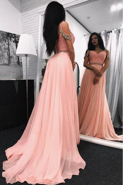 Off Shoulder Beaded Long A-line Blush Pink Chiffon Prom Dress with Beaded Belt