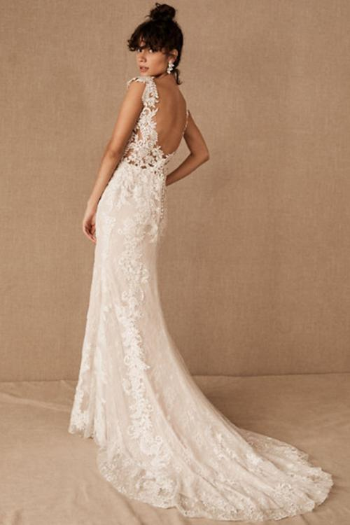 Ivory Mermaid V-neck Cap Sleeves Lace Appliques Sweep/Brush Train Long Wedding Dresses