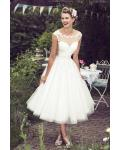Tea Length Illusion Neck Lace Bodice A-line Tulle Wedding Dress