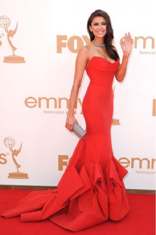 Charming Red Satin Mermaid Long Celebrity Red Capret Inspired Prom Dress