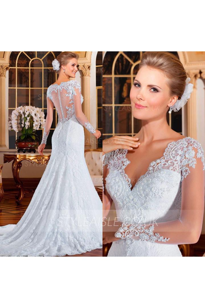 Long Sleeve V Neck Long Fit Flared Lace Wedding Dress with Beading