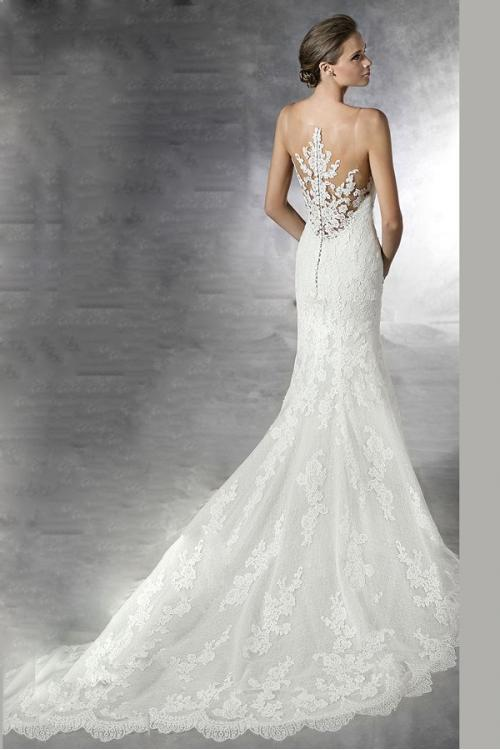 Beautiful Mermaid Illusion Neck Lace overlay Tulle Wedding Dress