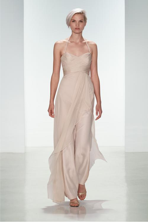 Hater Neck Pleated Long Blush Chiffon Bridesmaid Dress