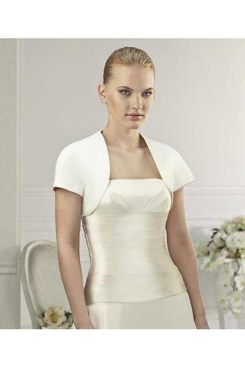 Simple Short Sleeve Satin Wedding Jackets