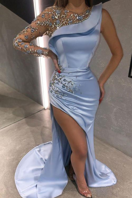 Sheath/Column Scoop Neckline One Sleeve Beading Split Sweep Train Long Satin Prom Dresses