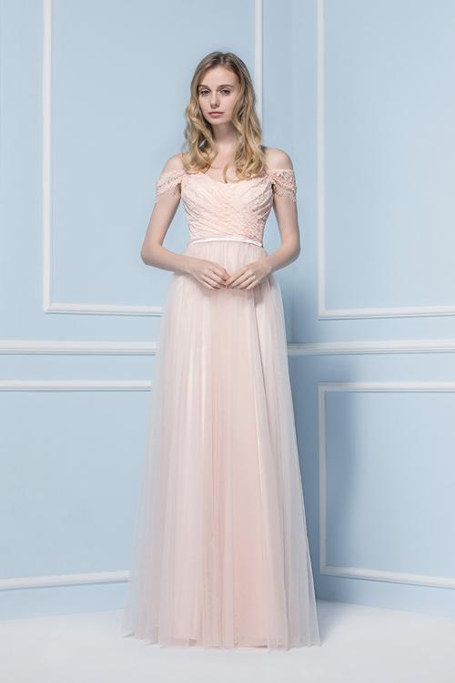Off the Shoulder Blush Lace Bodice Tulle Bridesmaid Dress with Ribbon