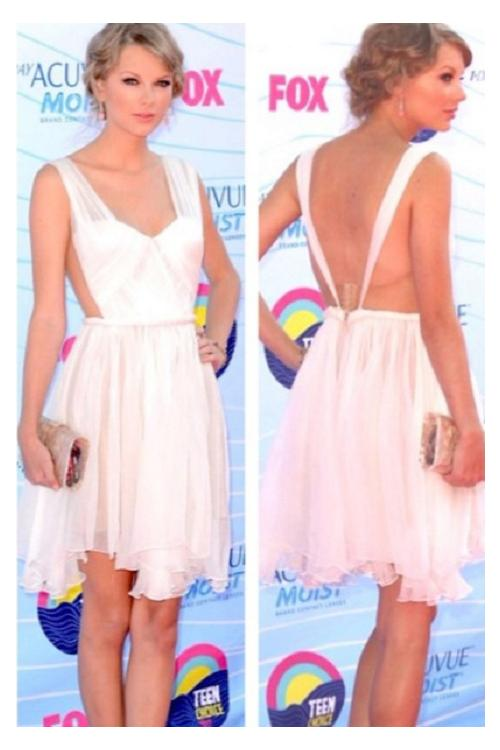 Taylor Swift Short Fashion Pleated Chiffon Pale Pink Prom Dress