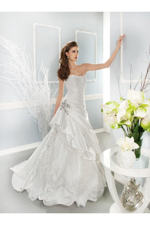 Simple A-line Strapless Beading&Crystal Sweep/Brush Train Satin Wedding Dresses