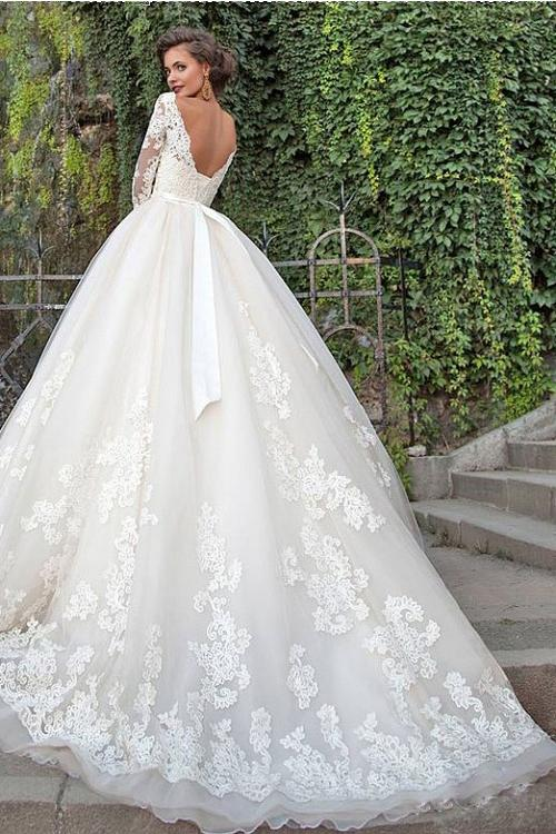 Illusion Off Shoulder Lace Bodice Ball Gown 3/4 Sleeves Sweep Train Wedding Dress with Sash