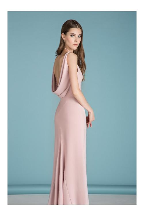 Chic V Neck Sheath Long Blush Chiffon Bridesmaid Dress