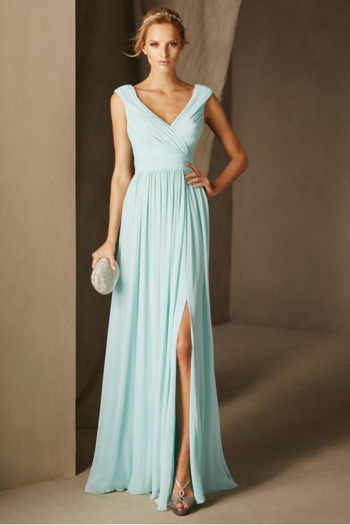Sleeveless Off Shoulder V Neck Long Chiffon A-line Bridesmaid Dress with Split