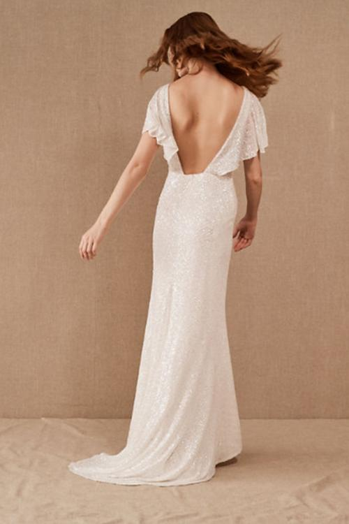V-neck Short Sleeve Ruching Sequins Sweep/Brush Train Long Wedding Dresses