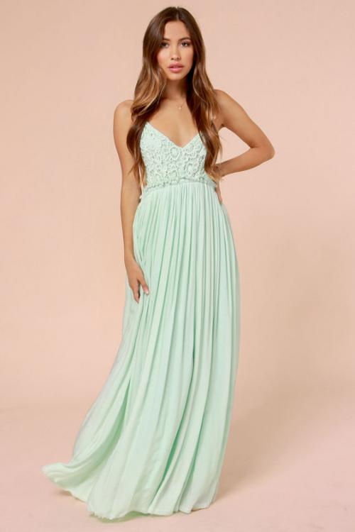 Backless Lace Bodice Spaghetti Straps Long Chifon Bridesmaid Dress