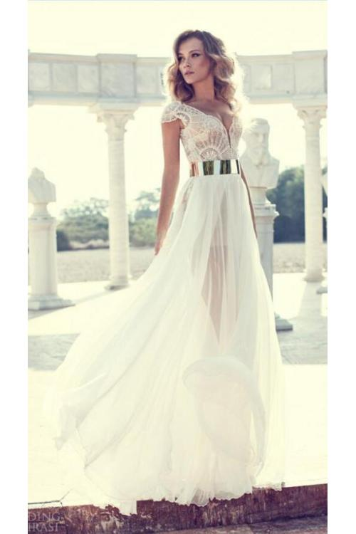 Luxious Beaded Cap Sleeved A-line White Beach Style Long Chiffon Prom Dress