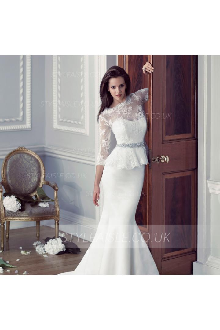 3/4 Sleeve Trumpet Satin Wedding Dress with Crystal Ribbon