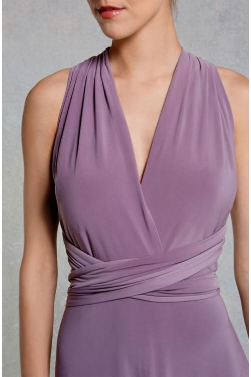 Haler V Neck Convetible Column Purple Long Bridesmaid Dress