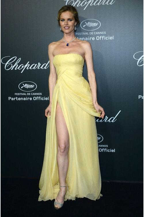 Charming A-line High Split Long Daffodil Chiffon Celib Prom Dress