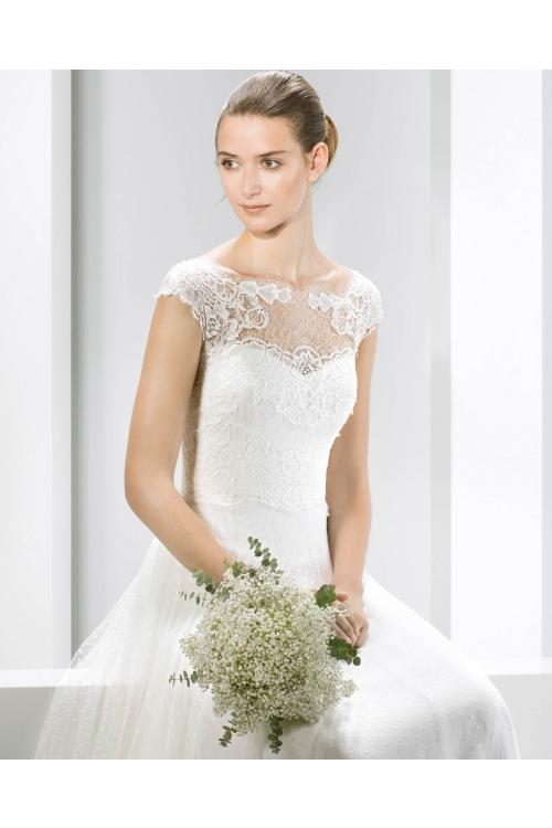 Vintage Illusion Bateau Neck Lace Pattern Top Dropped Waist A-line Tulle Wedding Dress