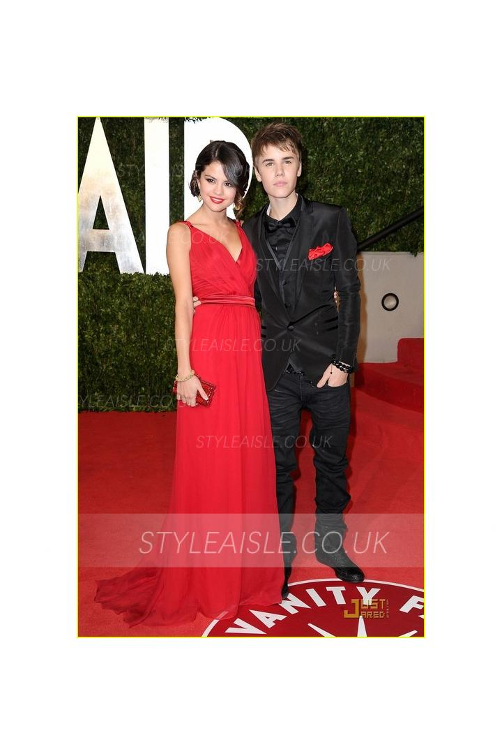Simple Selena Gomez Oscar party of Vanity Fair red Long Chiffon Prom Dresses