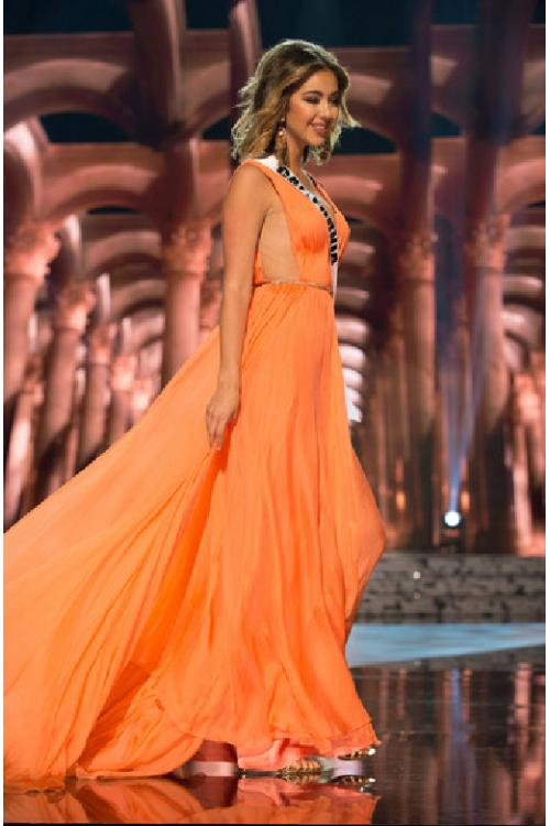 Orange Split Front V Neck Long Orange Chiffon Celebrity Prom Dress