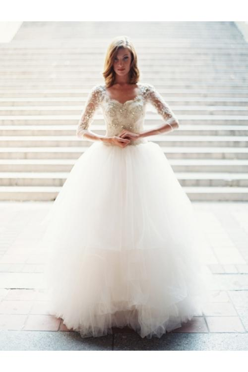 3/4 Sleeve Beaded Bodice Ball Gown Tulle Wedding Dress