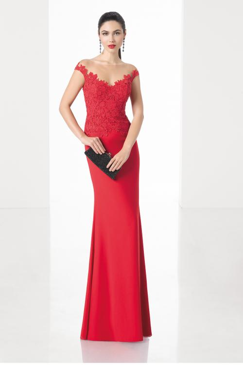 Illusion V Neck Red Chiffon Long Sheath Cap Sleeves Prom Dress Evening