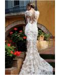 Bateau Neck Mermaid Lace Trimmed Tulle Wedding Dress with Long Lace Sleeves
