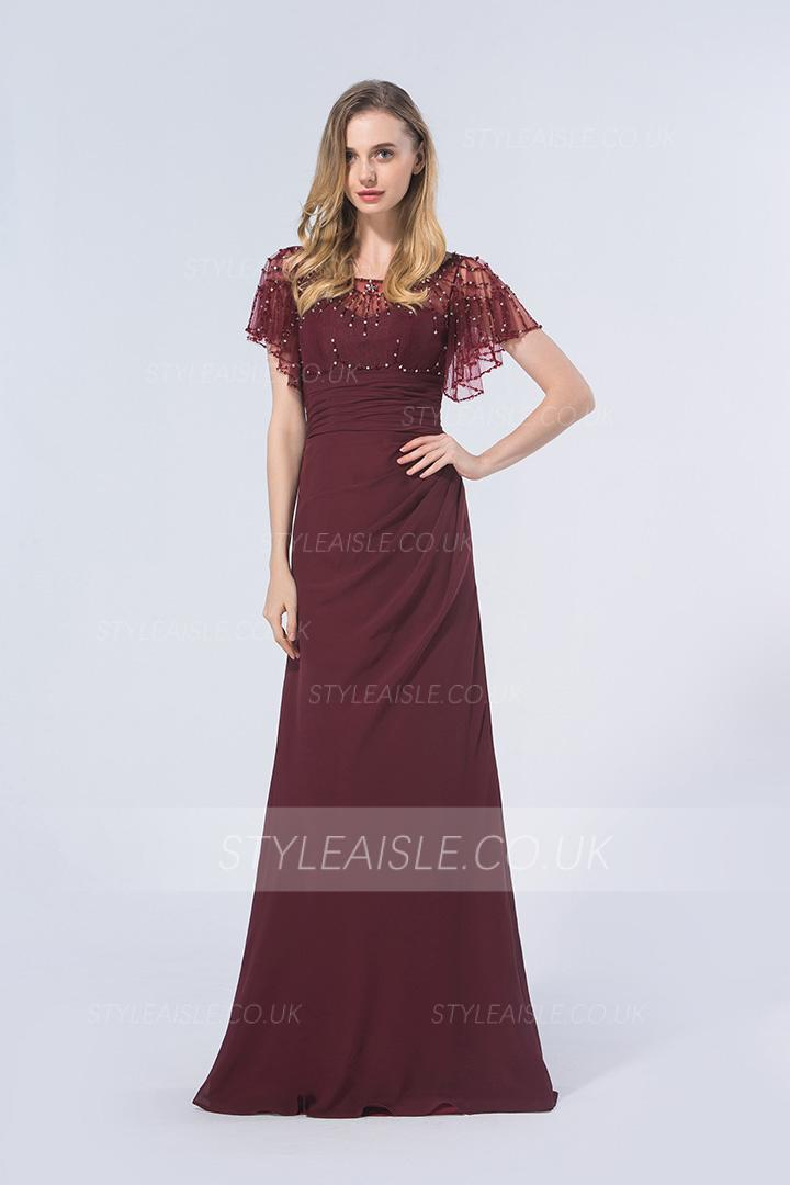 Seauin Beaded Scoop Neck Sheath Burgundy Chiffon Long Bridesmaid Dress