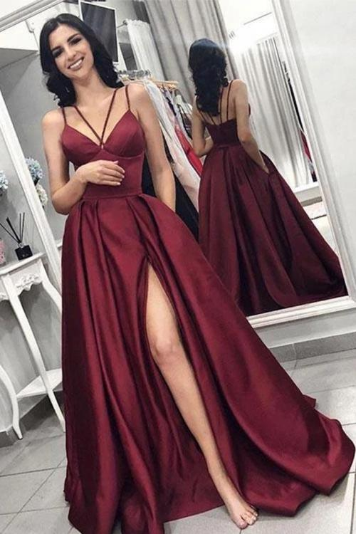 Deep V-neck Cross Sleeveless Floor-length Long Satin Prom Dress