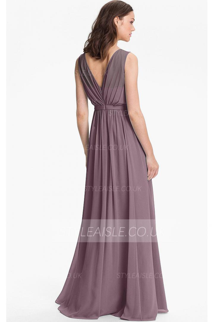 Princess Floor-length None Jewel Natural Bridesmaid Dresses