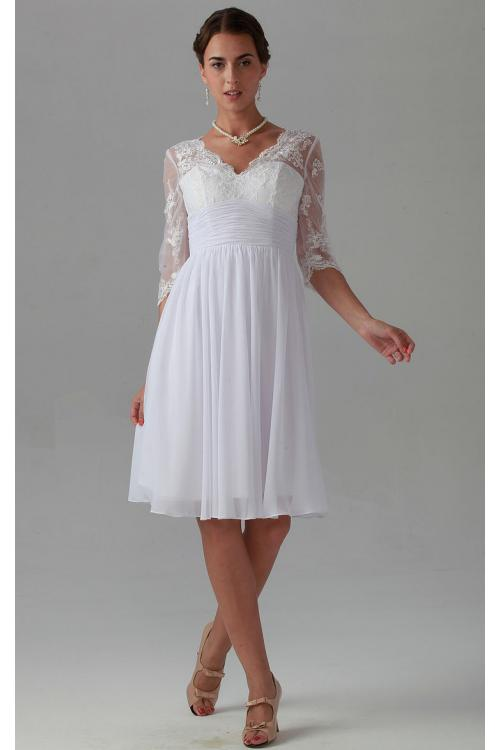 Zipper V-neck Lace Knee-length Natural Bridesmaid Dresses