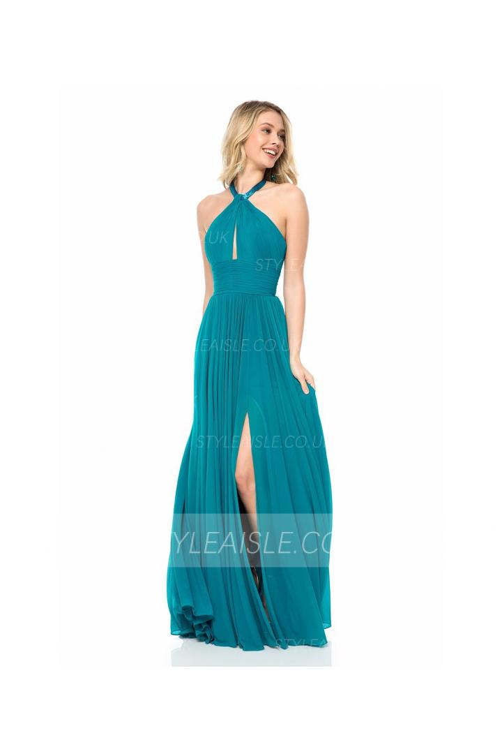 Simple Halter Neck Sleeveless A-line Long Chiffon Prom Dress
