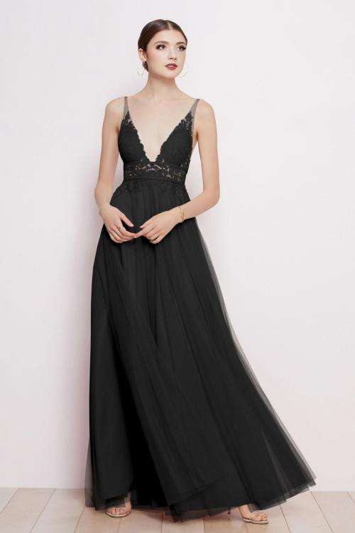 A-line Deep V-neck Sleeveless Empire Waist Lace Floor-length Long Tulle Prom Dresses with 2 Sashes