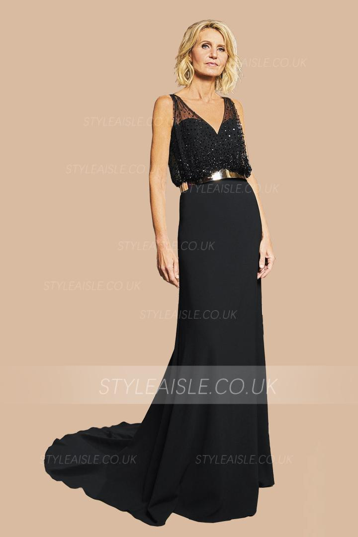 Mermaid V-neck Sleeveless Beading Court Train Long Cocktail Dresses with Metal Sashes